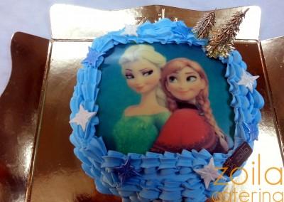 Tarta Frozen Elsa y Ana (Azul